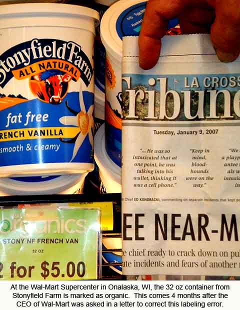 Mislabled yogurt in January 2007