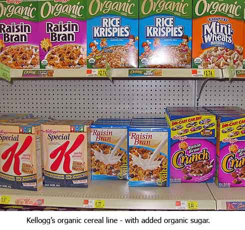 Kellogg's organic cereal with added organic sugar