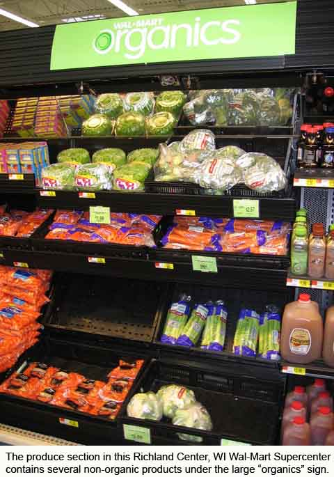 Non-organics in produce section