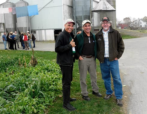 Tres Amigos at a CARE organic dairy in PA: Vincent Mina, Jerry Brunetti and Will Winter.